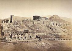 Η αρχική φωτογραφία τραβήχτηκε το 1854 από τον Ρόμπερτσον Τζέιμς. Απεικονίζει τα Προπύλαια της Ακρόπολης και μερικούς ανθρώπους που στέκονται κοντά στην είσοδο. Ανάμεσα τους ξεχωρίζουν δύο άντρες π… Athens Acropolis, Parthenon, Athens Greece, Classical Greece, Greek History, Pompeii, Old City, Ancient Greece, Holiday Travel