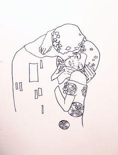 "Art Tattoo Gustav Klimt's ""Fulfillment"", and ""The Kiss""; Art TattooSource : Gustav Klimt's ""Fulfillment"", and ""The Kiss""; Klimt Tattoo, Kiss Tattoos, Fake Tattoos, Small Tattoos, Sleeve Tattoos, Tatoos, Cool Easy Drawings, Art Drawings, Tattoo Drawings"