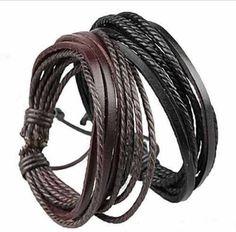 pulseira bracelete mas/fem couro legítimo kit 2 frete grátis