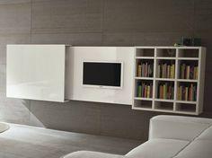 Wall-mounted retractable TV cabinet SLIM 10 by Dall'Agnese design Imago Design, Massimo Rosa