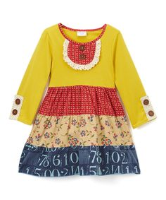 Loving this Mustard Yellow & Red Lace-Accent Ruffle Dress - Toddler & Girls on #zulily! #zulilyfinds