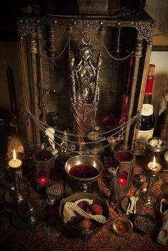 I love the colors of this altar! The colors are beautiful, the offerings are awesome, the statuette is awesome, and I love this altar. Wicca Witchcraft, Magick, Images Esthétiques, Pagan Altar, Mystique, Witch Aesthetic, Book Of Shadows, Gods And Goddesses, Tarot