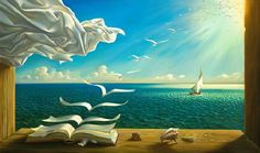 Vladimir Kush diary of discoveries painting for sale - Vladimir Kush diary of discoveries is handmade art reproduction; You can shop Vladimir Kush diary of discoveries painting on canvas or frame. Vladimir Kush, Fantasy Kunst, Fantasy Art, Inspiration Artistique, Magic Realism, Illustration, Magritte, Wassily Kandinsky, Surreal Art