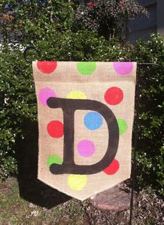 Burlap Garden Flag Monogram Polka Dots. $20.00, Via Etsy.