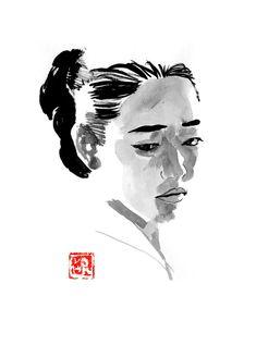 #queen #korea #japan #sumie Geisha Hair, Sumi E Painting, France Drawing, Wassily Kandinsky, Gustav Klimt, Jurassic World, Claude Monet, Vincent Van Gogh, Drawing People