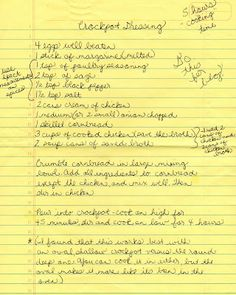 Today, with the thoughts of Thanksgiving in the air, I am going to share a recipe with you that my family loves . It is my aunt's recipe for. Crockpot Dishes, Crock Pot Slow Cooker, Crock Pot Cooking, Crockpot Recipes, Cooking Recipes, Cooking Time, Crockpot Chicken And Dressing, Chicken Dressing, Thanksgiving Recipes