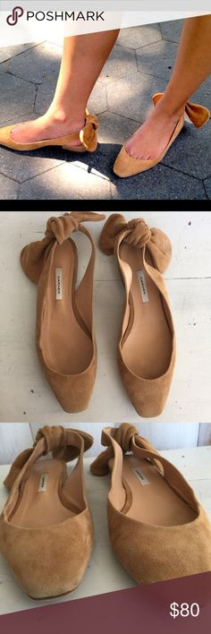 Carven suede bow flats European designer Carven - nude suede leather slingback flats. Removable bow on the back of heels. Very small heel- good gently worn condition. Size 40 Carven Shoes Flats & Loafers