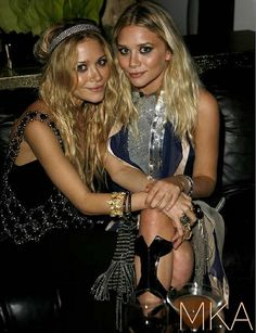 The Row designers and young moguls, Mary-Kate and Ashley Olsen wearing embellished bohemian mini dresses.