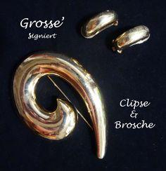 Grosse' signierte Clipse und Brosche Necklaces, Bangle Bracelet, Gemstones, Brooch, Fashion Jewelry, Silver, Ring