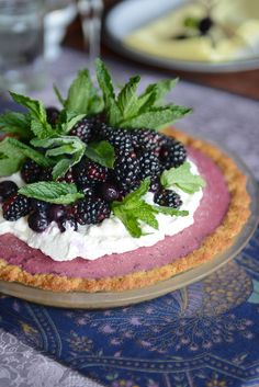 Frozen Blueberry Tart with Lavender Coconut Crust