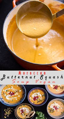 Moroccan Butternut Squash Soup Vegan and Goat Cheese w/Coconut Ginger Cream + Pistachios Tasty Vegetarian Recipes, Lunch Recipes, Cooking Recipes, Vegan Meals, Sweet Recipes, Pistachio Recipes, Chowder Recipes, Butternut Squash Soup, Pistachios