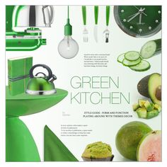 """Green Kitchen"" by befunky ❤ liked on Polyvore featuring interior, interiors, interior design, home, home decor, interior decorating, KitchenAid, Modway, Kate Spade and Envy"