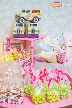 sweets on a pink table