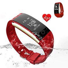 Jcotton Bluetooth Smart Watch IP67 Wasserdichte Smart Armband Herzfrequenz-Monitor Sport Wristband Fitness Tracker Multi-Sport-Modus Gesundheit Monitor Pedometer Anruf Nachricht Erinnerung für IOS Android Phone (rot)
