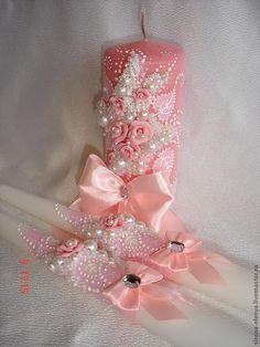 """Купить Свадебный набор """"Розовый букет"""" - свадебные аксессуары, свадебные бокалы, свадебные свечи"""