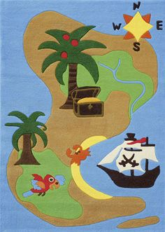 Found it at Wayfair Australia - Joy Pirate Treasure Island Kids Rug Pirate Maps, Pirate Theme, Stickers Pirate, Decoration Pirate, Pirate Bedroom, Childrens Rugs, Tapis Design, Clearance Rugs, Activities For Kids