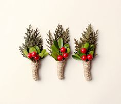 Holiday boutonniere Winter wedding groomsmen by whichgoose on Etsy, $12.00