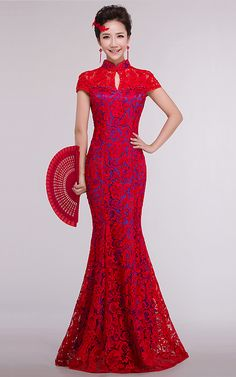 Blue lined red lace mandarin collar Chinese bridal wedding dress HuaYangZhanFang-15228 012