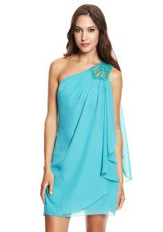 JS BOUTIQUE Aqua Cocktail Dress with Embellished Shoulder
