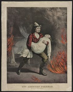 Firefighter Gift or Decor Vintage 1858 Artwork Fireman Rescues Woman 11x14