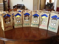 """Easy Elementary School Graduation Goodie Bags--Cut out design, trace, and paint """"replace with emoji faces"""" Preschool Graduation Gifts, 5th Grade Graduation, College Graduation Gifts, Kindergarten Graduation, Graduation Celebration, Graduation Party Invitations, Graduation Ideas, Graduate School, Elementary Schools"""