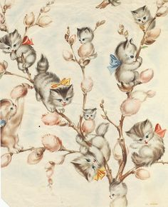 Cats in Illustration and Decorative Arts: Pussy Willow Kittens I Love Cats, Crazy Cats, Vintage Illustration, Image Chat, Vintage Wrapping Paper, Wrapping Papers, Gift Wrapping, Photo Chat, Here Kitty Kitty