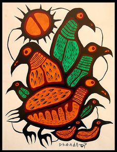 >>> Norval Morrisseau Facts, Articles & Art: Family of Birds - Norval Morrisseau - 1968 Arte Inuit, Inuit Art, Native American Artists, Canadian Artists, Animal Meanings, Native Canadian, Cultural Crafts, Woodland Art, Art Curriculum