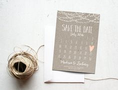Save the Date Card, Calendar Printable, Simple Wedding Announcement, Kraft Paper, Rustic, Custom Colors, White Neutral Classy   Matching Wedding Suite: www.etsy.com/listing/475051140   PLEASE NOTE: This item is a DIGITAL FILE. You are purchasing a digital file only. No physical item will be shipped. No printed materials are included.  Upon placing your order, a jpeg file will be emailed to the email address you have registered with Etsy. Please check Shipping & Policies for curr...