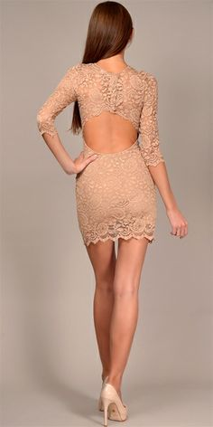 Gilber Gilmore - 3/4 Sleeve Lace Dress - Nude