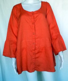 FLAX UNDERFLAX Southern Belle Top, Coral Linen, 1G (1X), NWOT #Flax #Blouse