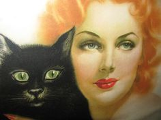 Vintage 1939 Vargas Girl Color Print, Green Eyed Black Cat, Red Head, Pin-Up Girl, Retro, 1930's Art, Halloween Black Cat classic 30's Hollywood Glamour Girl Beautiful Woman lovely feminine antique Sexy Witch feline mystic love spell