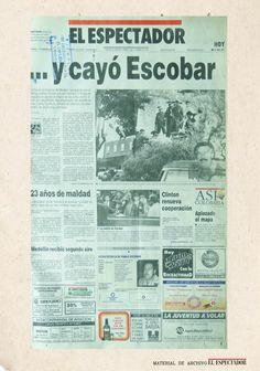 Así tituló El Espectador la muerte de Pablo Escobar.