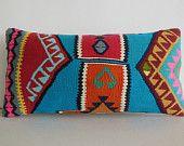 Turkish cushion throw pillow kilim pillow decorative throw decorative pillow outdoor floor sham bohemian decor boho ethnic tribal accents