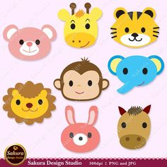 Lovely Animals Digital Scrapbook Paper Monkey,Tiger,Elephant,Rabbit,Lion,Bear,Giraffe,Horse 8 Clipart, Paper Crafts, Cards