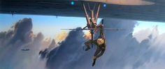 Ralph McQuarrie - Star Wars - TESB: Luke hangs precariously from an antenna...
