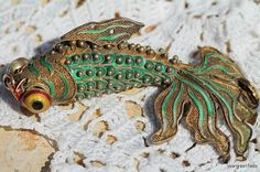 Vintage Chinese Export Sterling Silver Filigree Cloisonne Articulated Fish Pendant