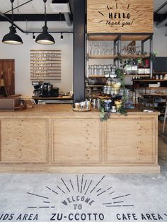 【EIGHT DESIGN】愛知県春日井市の親子カフェ「ZU-CCOTTO」の店舗デザイン。 Coffee Shop Interior Design, Coffee Shop Design, Cafe Design, Coffee Shop Counter, Cafe Counter, Cozy Coffee Shop, Coffee Cafe, Deco Cafe, Green Cafe