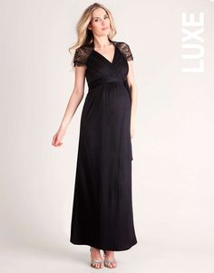 <ul> <li>Luxury draped fabric</li> <li>Wrap design</li> <li>Lace detailing</li> <li>Full length</li> </ul> <p>The glamorous Lace Detail Wrap Maternity Dress is an unforgettable evening style, guaranteed to turn heads at your black tie event. A stylishly ruched bodice gives way to a full length skirt, which drapes beautifully to the floor to reveal just a flash of sparkling strappy sandal. Swirling French lace with delicate eyelash trimmed scalloped edges swathes across your back and over…