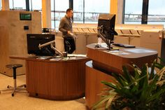 Library at The Dock - City of Melbourne Docklands Library - opened May 2014 - customer service desk area