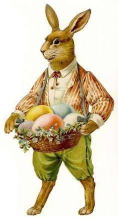 Glanzbilder - Victorian Die Cut - Victorian Scrap - Tube Victorienne - Glansbilleder - Plaatjes : Osterhase - Easter bunny - lapin de Pâques