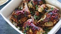 Roast chicken with haloumi stuffing.