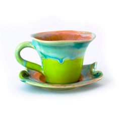 Tea cup pottery ceramic stoneware icetea cappuccino big - unique handmade in original shape and enamel colors - orange green turquoise on Etsy, $38.00