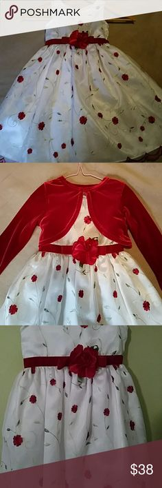 """Adorable Flowered Girls Dress with a Velour Shrug """"Like New"""" no stains, rips or pulls. Cleaned and ready to wear to that party or at Christmas time. Lovely little girl's red and white flowered dress worn once. Pretty flower in the front. Comes with the shrug. Has three buttons and ties in the back. Has such pretty details, scalloped edges at the bottom of the dress. Jenny & Me Dresses Formal"""