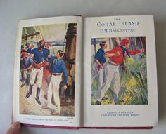 Vintage The Coral Island Tales Of The Pacific Ocean Marooned Shipwreck Pocket Classic Edition ca 1940s