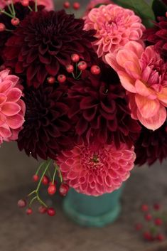 Love 'n Fresh Flowers dahlias and rose hips