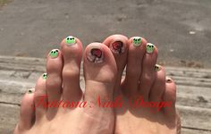 My summery fruit mani and pedi #nailart, #naildesign, #freehand, #fruits, #cherry, #kiwi, #pedicure