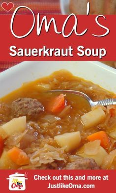 What can be more German than that? Make this recipe just… ❤️ Sauerkraut Soup! What can be more German than that? Make this recipe just like Oma! An absolutely wunderbar dish! Easy to prepare, store, and clean-up! Sauerkraut Soup Recipe, Recipes With Sauerkraut, Irish Potato Soup, Cheesy Potato Soup, Potato Diet, Turkey Broth, Turkey Soup, Healthy Recipes, Bon Appetit