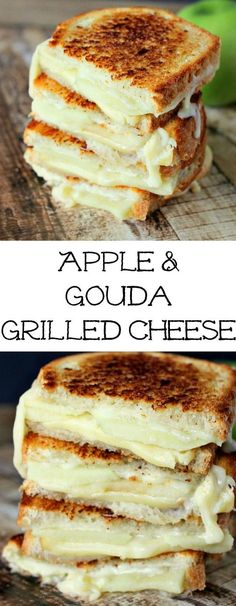 """Apple & Gouda Grilled Cheese is perfect for fall and those granny smith apples! Savory and delicious!"""" alt=""""Apple & Gouda Grilled Cheese is perfect for fall and those granny smith apples! Savory and delicious! Add bacon for even more delish! Think Food, I Love Food, Granny Smith, Vegetarian Recipes Dinner, Vegetarian Food, Dessert Recipes, Easy Recipes For Lunch, Healthy Desserts, Healthy Fall Recipes"""