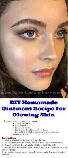 DIY Homemade Ointment Recipe for Glowing Skin.   This ointment will certainly repair your completely dry skin, yet its light enough to lug you all the way with a very hot summertime.  You could personalize or customize your ointment to your skin type is as simple as that and like  fragrance, and you can also make it for kid (calendula and chamomile …).  There are countless variants, but a few of my faves are:. -Rosewater and Almond Oil. -Pepper mint, Wintergreen, as well as Ginger for sore…