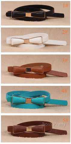 $4.10 1Pc Hot-sell Lady's Waistband Colored Bowknot Design Adjustable Belt - BornPrettyStore.com
